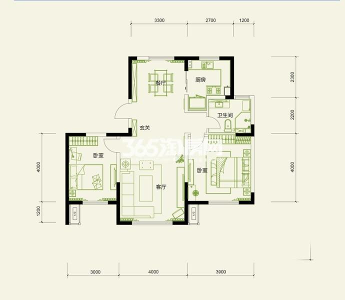 高层标准层 2室2厅2卫1厨 103平米