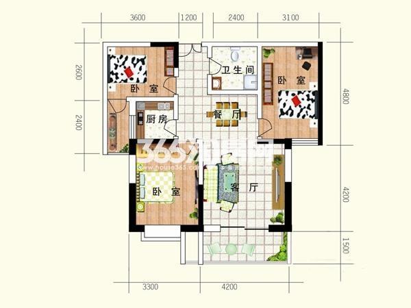 亚太城市月光户型图户型E 3室2 面积 115.29㎡3室2厅1卫1厨