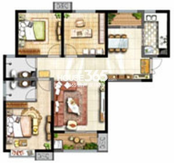 辰宇世纪城学位房19#楼A1户型3室2厅2卫119/120平米