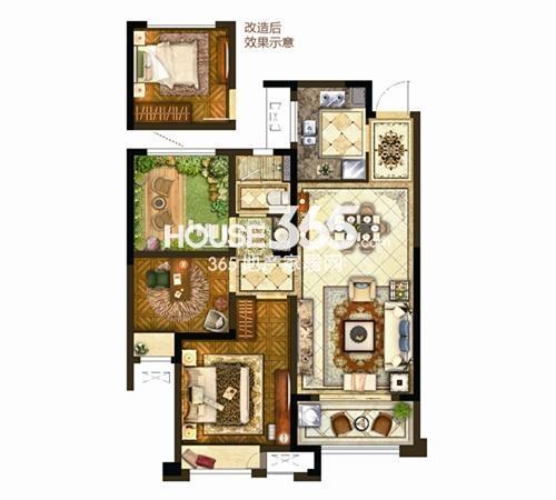 保利公园九里8#87㎡户型图2+1房两厅一卫