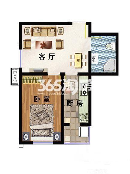 洋房B2户型 59平米