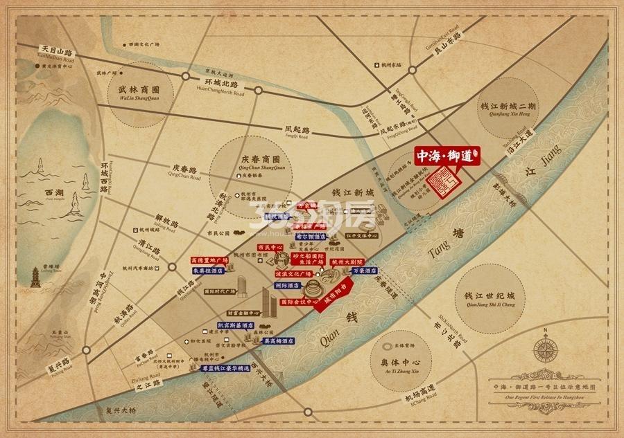 中海钱江湾交通图