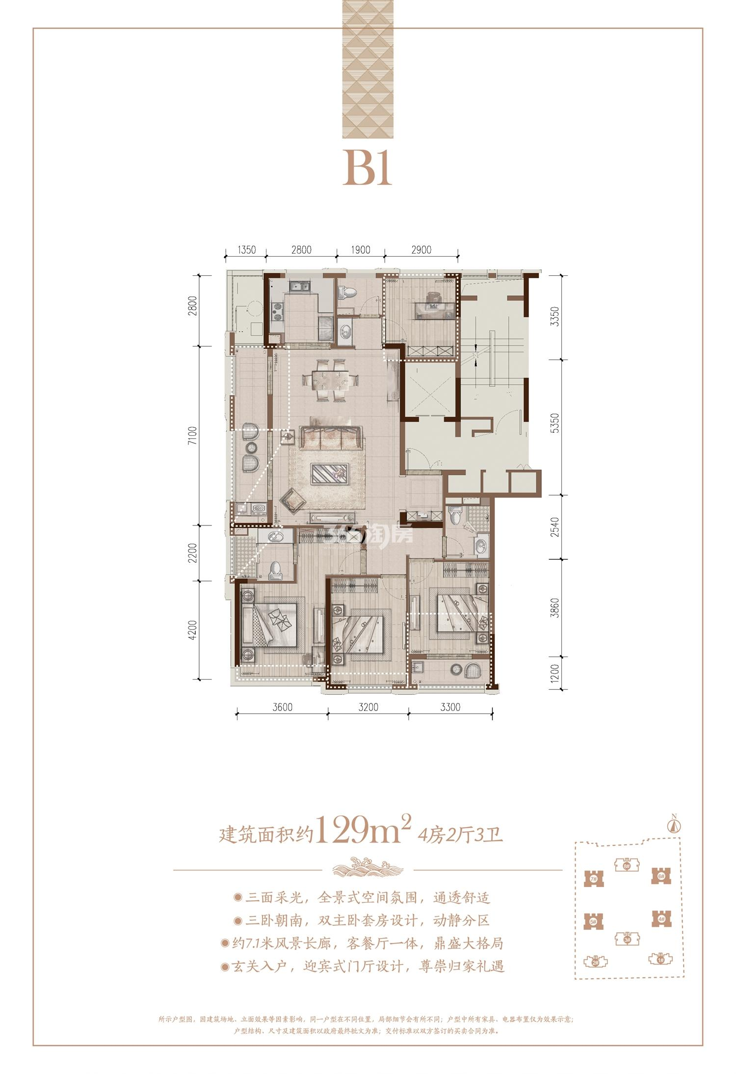 大家金鼎府B1户型图129方 (4、5、6、7#)