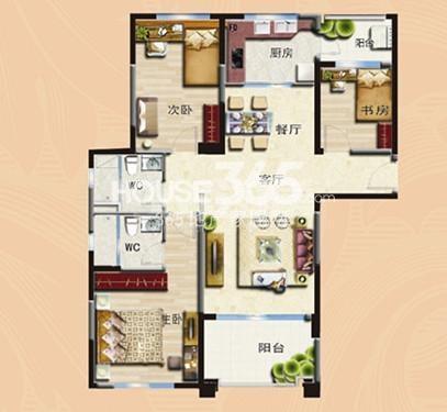 无锡碧桂园三室两厅两卫127平户型图