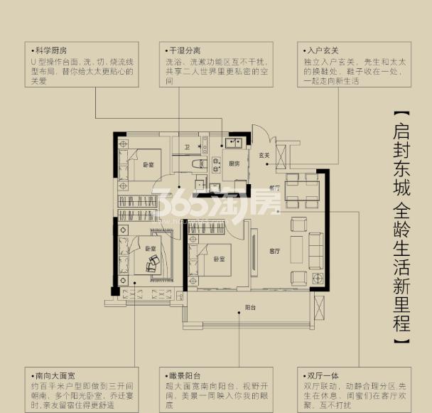 金鹏珑璟台95.17㎡户型图