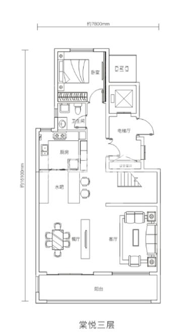 万科悦湾180㎡复式洋房三层户型图
