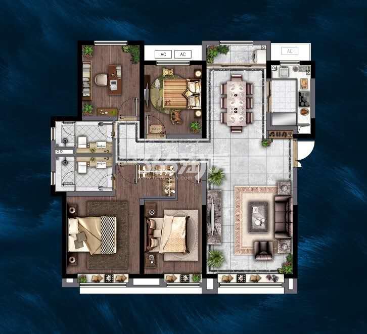 电建地产洺悦府142平四室两厅两卫