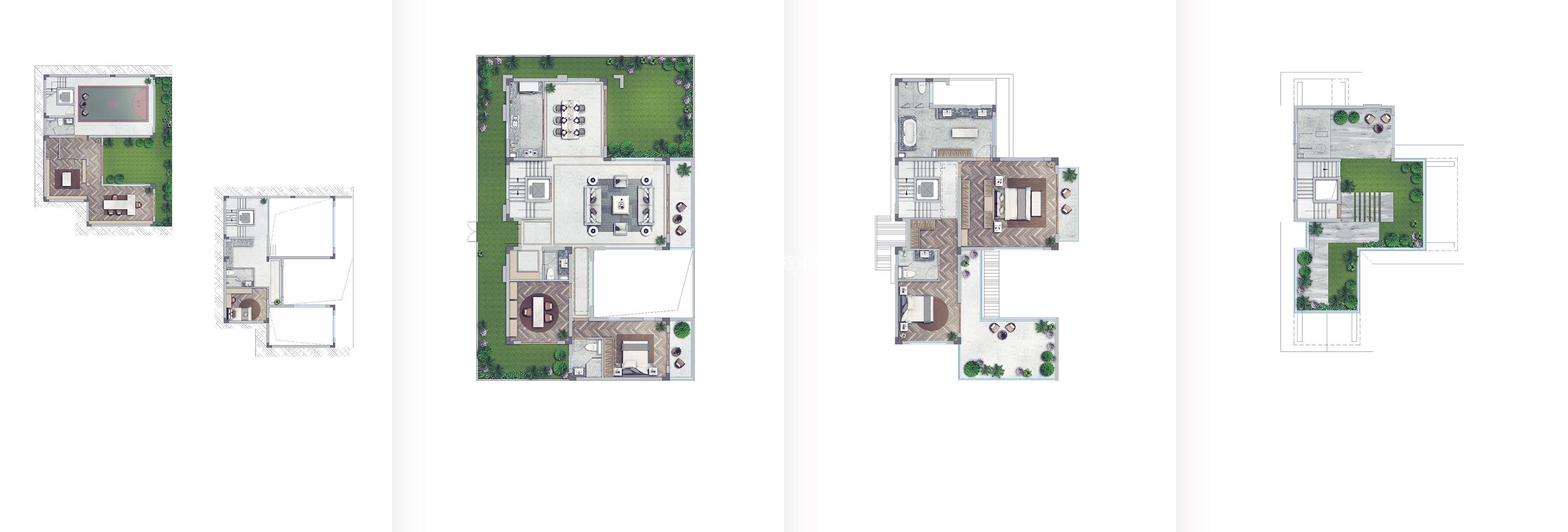 世茂国风大境211方(夹层地下室)合院户型图