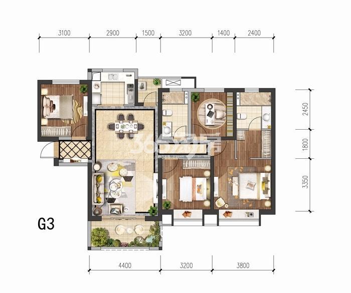 中国铁建花语城G3户型四室两厅两卫139平