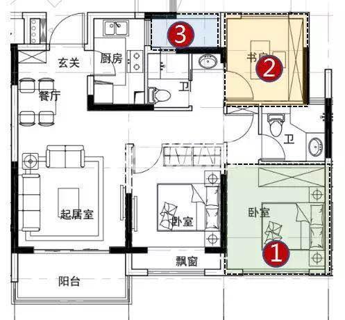 银城云谷天境高层2、3号楼89方户型