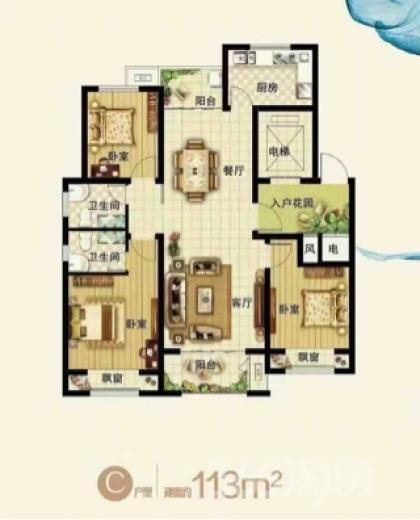 浩创梧桐花语3室2厅2卫105平米毛坯产权房2017年建