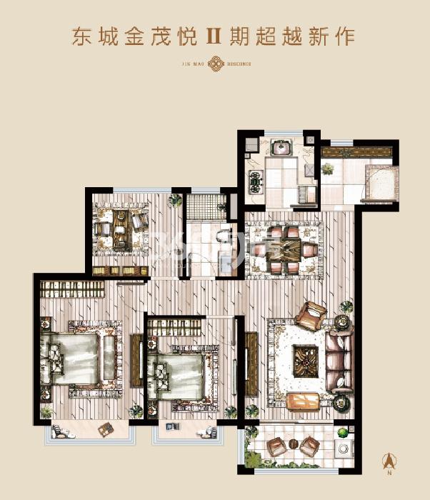 东城金茂悦Ⅱ期建面约104㎡三室两厅一卫户型图