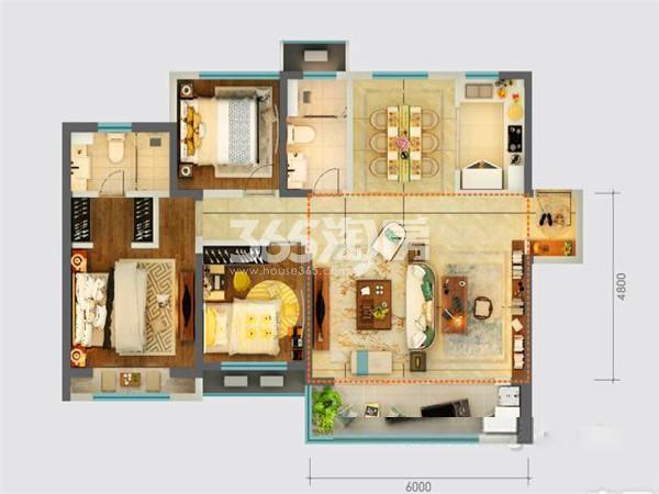 绿地新里城三室两厅125㎡户型图