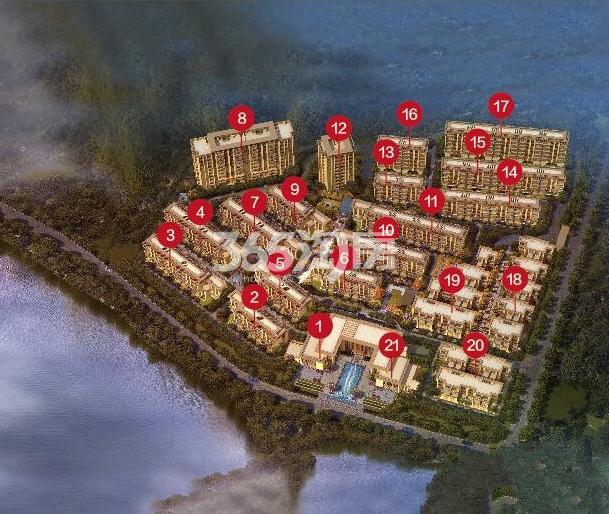 远洋雁归里项目鸟瞰图(带楼栋号)