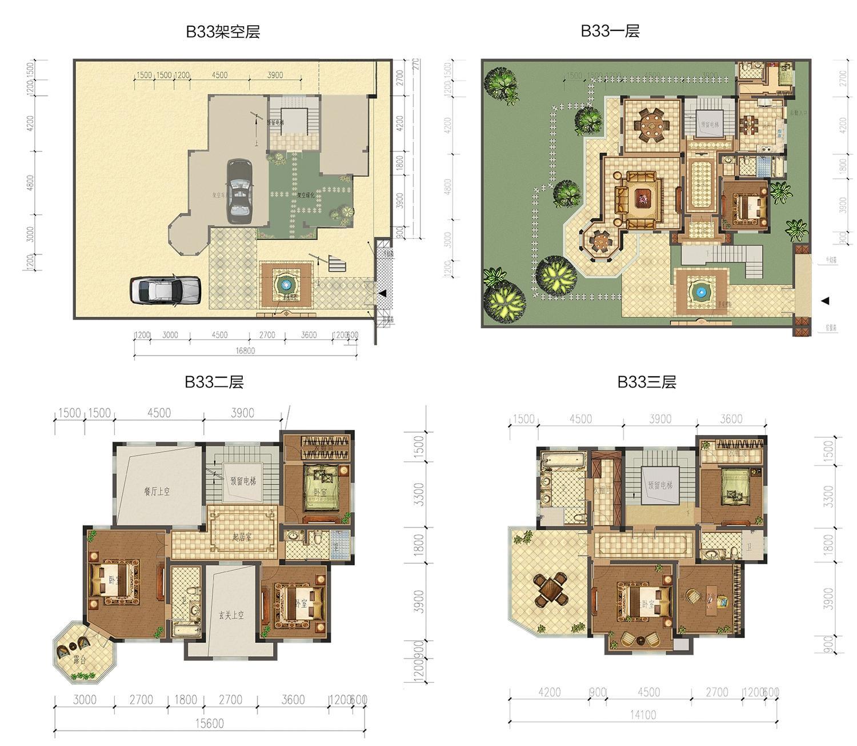 成龙官山邸B33幢独栋户型约374㎡(地上地下个一个车位)