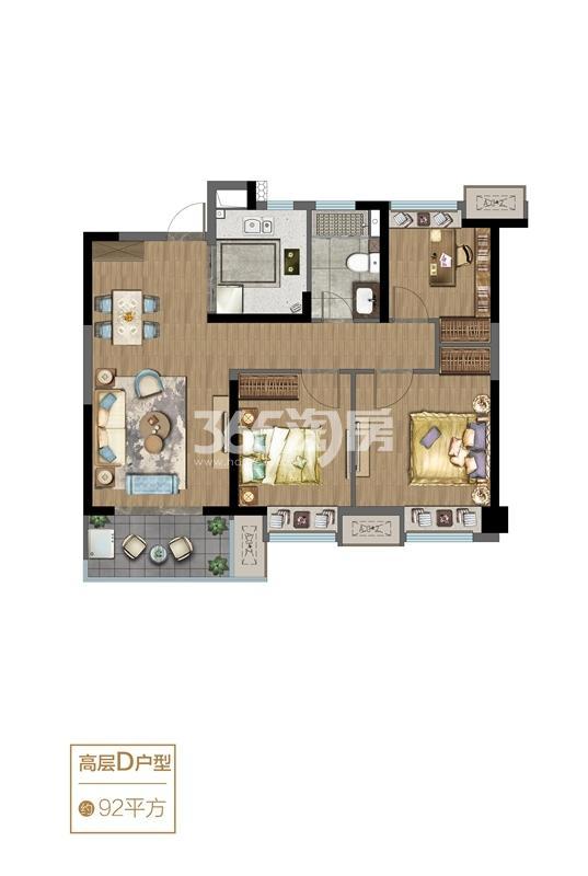 高层D户型-92㎡三室两厅一卫