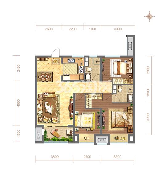 当代嘉宝公园悦MOMΛ106平方米3室2厅2卫户型图