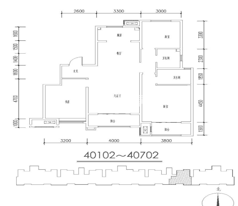 金辉优步花园56#3室2厅2卫1厨122.00㎡