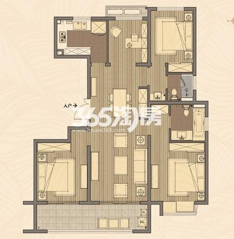 高层7#F户型 4室2厅2卫1厨