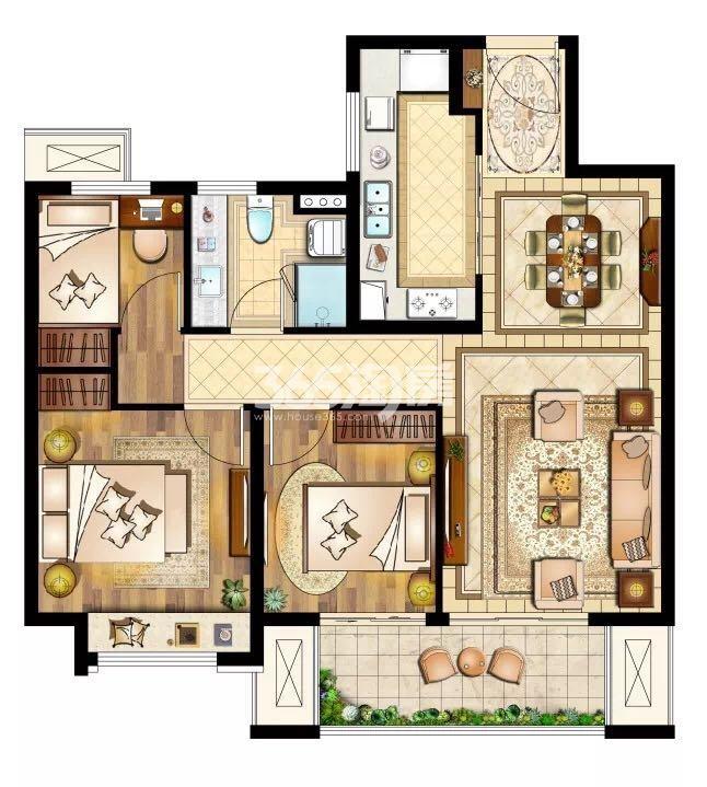 三室两厅一卫95㎡