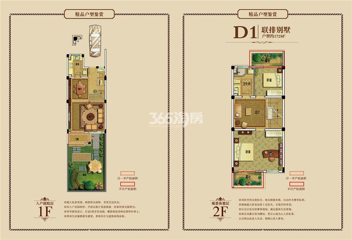 御景园联排别墅D1户型图1-2F