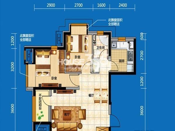 奥园会展广场 两室两厅一厨一卫 74平米 户型图