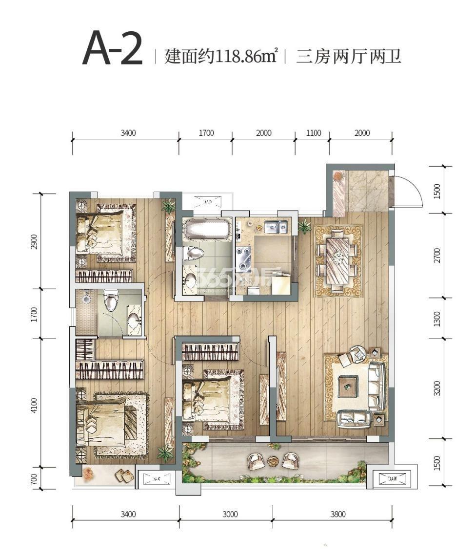 中铁燕南苑A-2三室两厅 118.86㎡