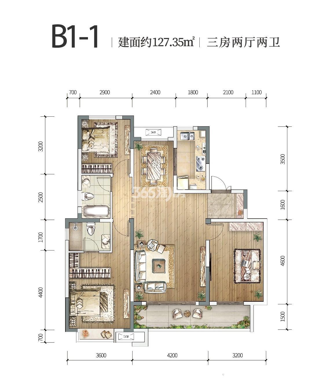 中铁燕南苑B1-1三室两厅 127.35㎡