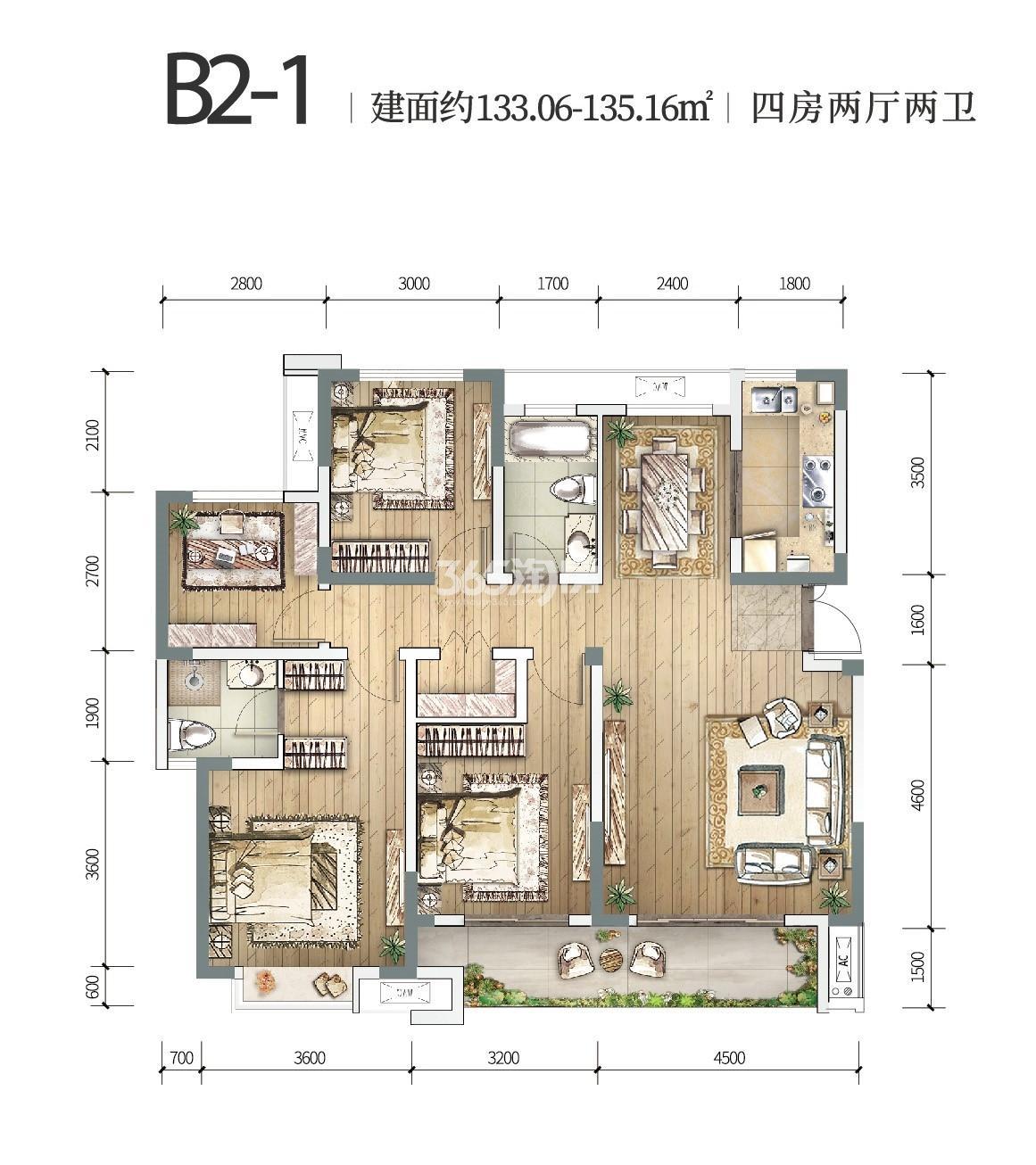 中铁燕南苑B2-1四室两厅 133.06-135.16㎡
