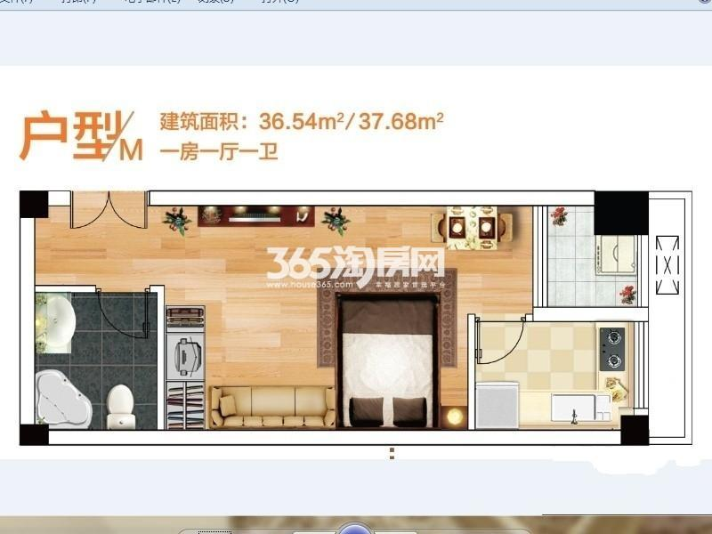 奥特莱斯V公寓1室1厅1卫1厨36.00㎡B12栋和B13A栋M户型