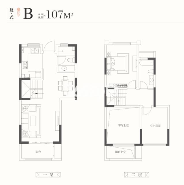 华润橡树湾花园四期 复式B户型107平 1室2厅2卫