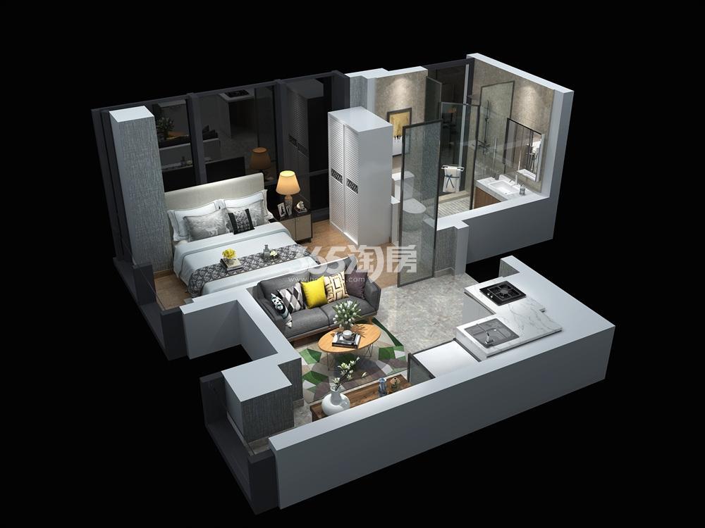 汉中公馆42㎡公寓户型图
