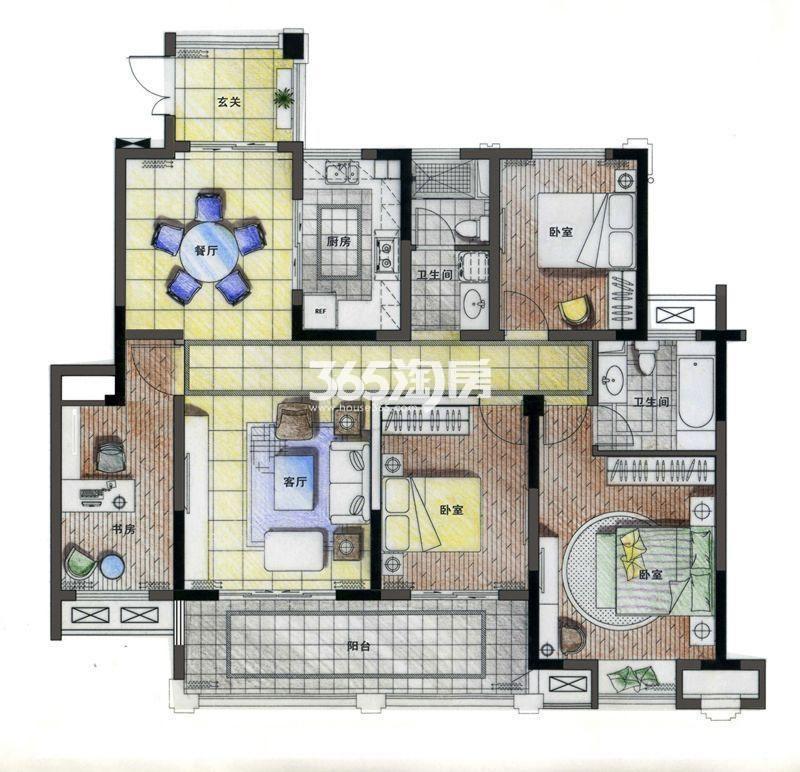 亚东·紫檀C1户型 四室两厅两卫 140㎡