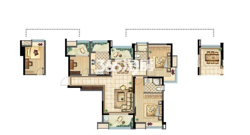 雅居乐A户型层峦三室两厅一卫104㎡