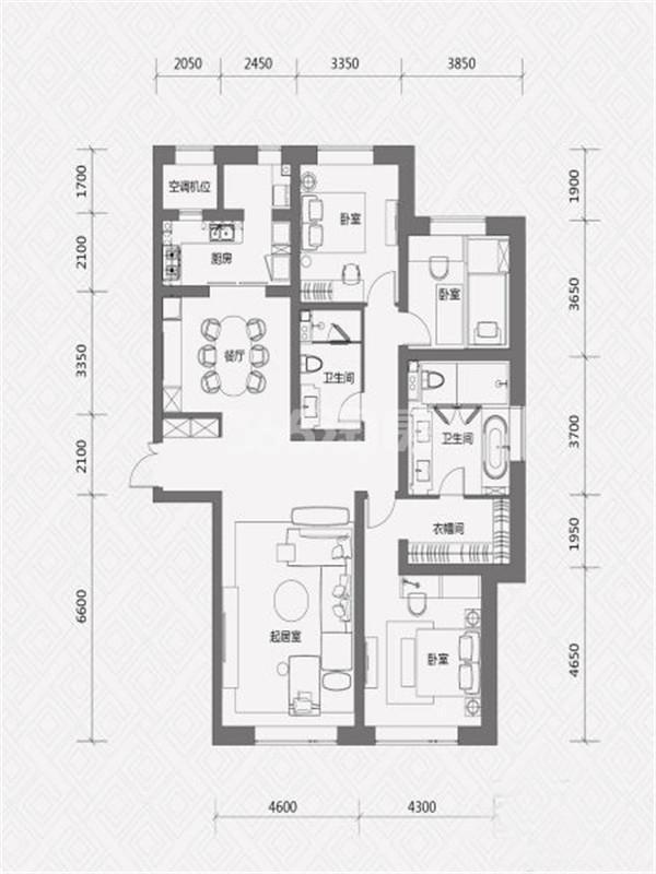 E户型, 3室2厅2卫, 约210.00平米
