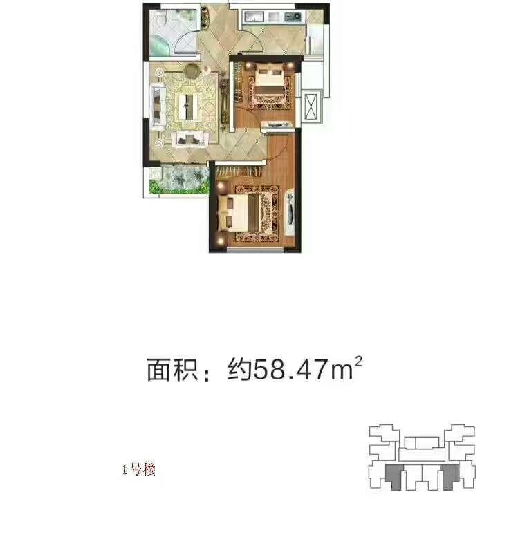 58.47两室户型图