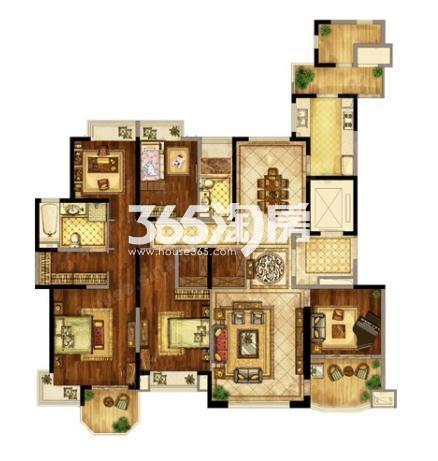 恒大翡翠华庭230平米5室2厅2卫户型图