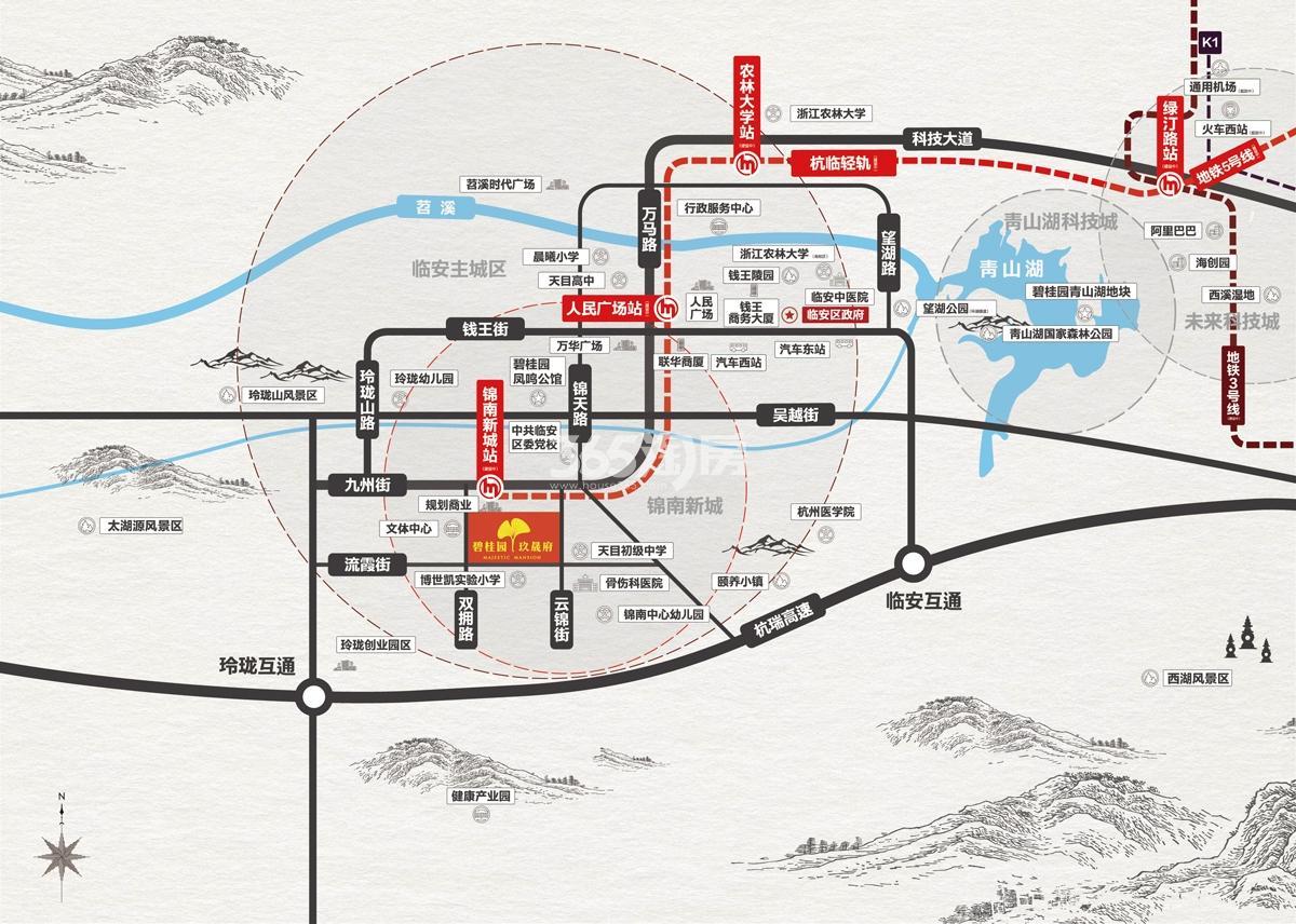 碧桂园玖晟府交通图