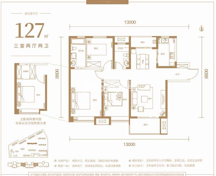 曲江美好时光127平米三室两厅两卫户型图