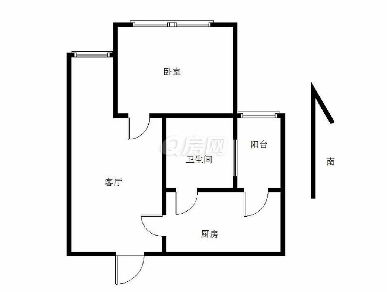 鼓楼区大桥南路中海凯旋门1室1厅户型图