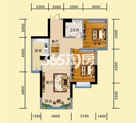 B-2户型 两室两厅一卫一厨 建筑面积约106.64㎡