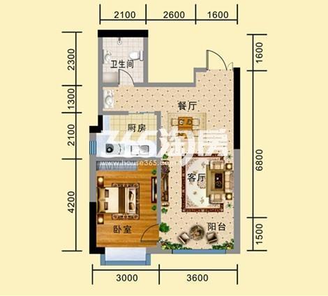 A-4户型 一室一厅一卫一厨 建筑面积约72.64㎡