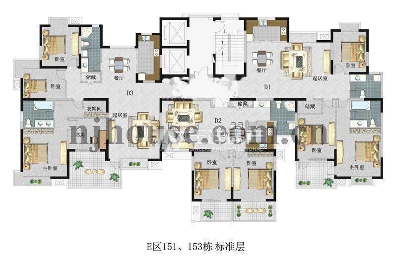 建邺区奥体西堤国际3室2厅户型图
