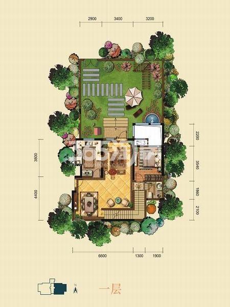 金泰新理城6+1室6厅5卫301.11㎡户型图(一层)