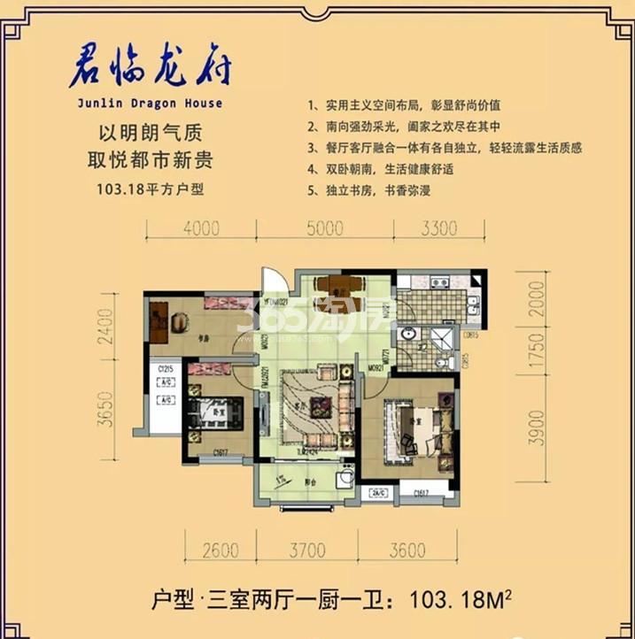 君临龙府住宅三室两厅一厨一卫103.18平米