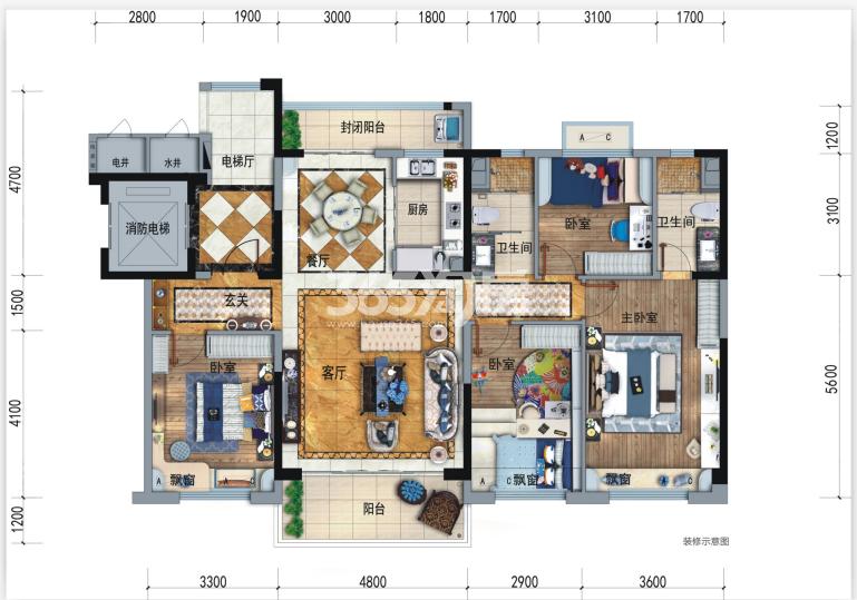碧桂园香湖湾1号项目148㎡洋房户型图