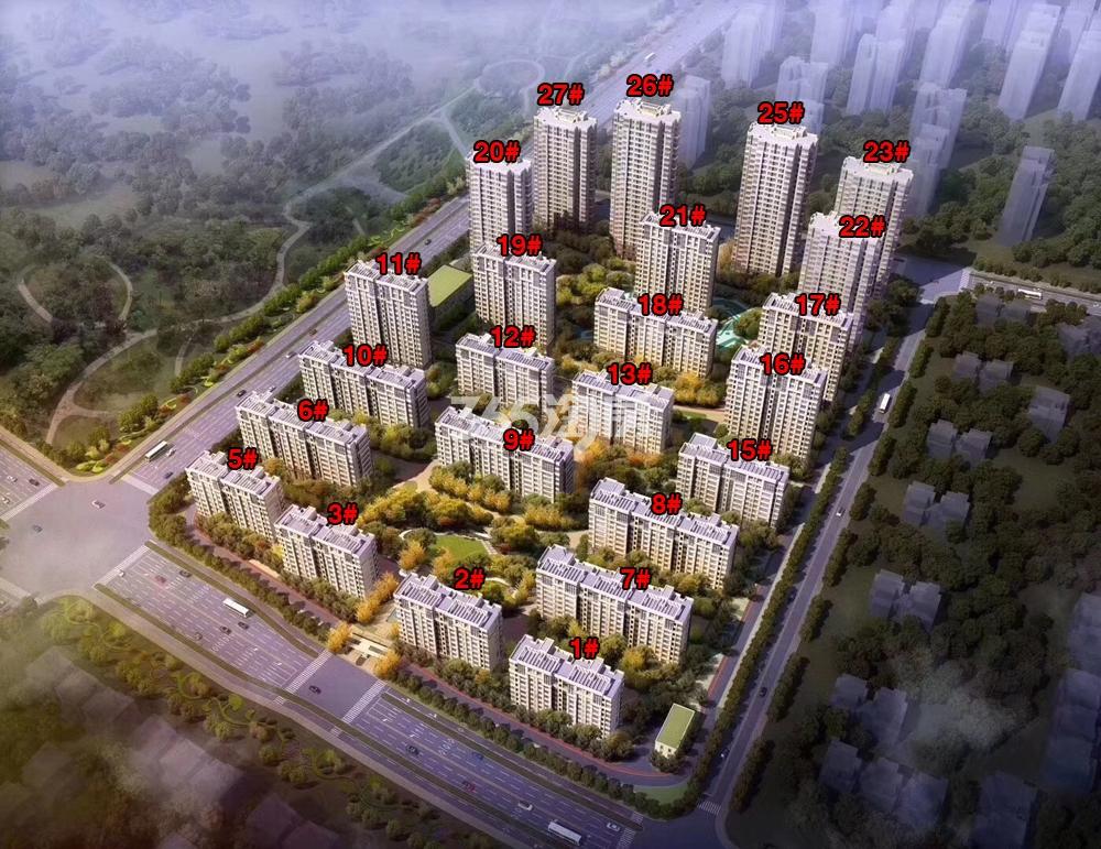 绿都地产少荃府项目楼栋鸟瞰图