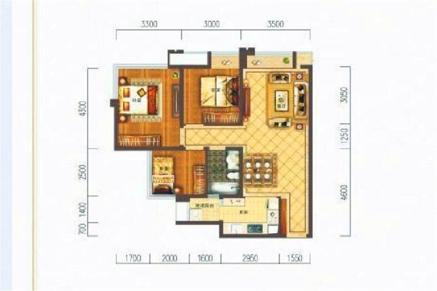 B1户型三房两厅一卫约85㎡