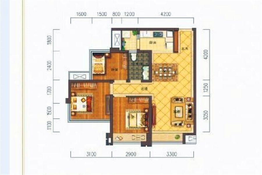 B3户型三房两厅一卫约75㎡
