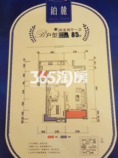 三迪枫丹1号楼B户型2室2厅1卫1厨85.00㎡